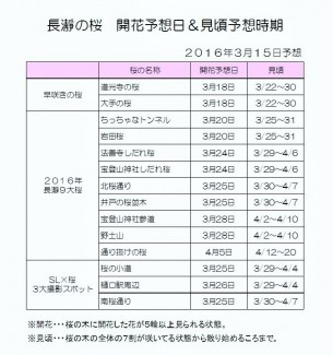 開花&見頃予想 2016.3.15